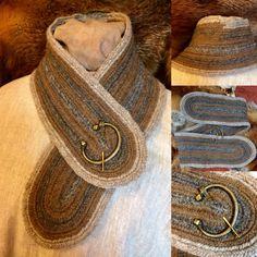 Norse Scarf Nalbinded neck warmer craft of needlebind Nalbind Nålebinding with s single bone needle