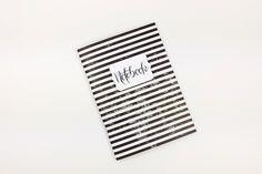 Notizheft A6 Journal 56 Seiten, schwarz weiß gestreift, Tagebuch, Reisenotizen, Designerpapier, Bulletjournal, individualisierbar von crehand auf Etsy