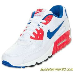 Nike Air Max 90 Essential Mens White Cool Grey Deep Royal Blue 537384 104