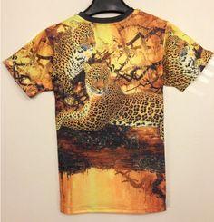 c40f7f4b1 Tide brand new summer short-sleeve t-shirt short-sleeved round neck T gold  leopard print T-shirt male hip-hop