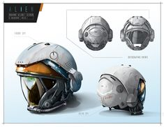 My assignment from CGMA academy - Principles of design process - week 1 alien helmet design Armor Concept, Concept Art, Suit Of Armor, Body Armor, Astronaut Helmet, Helmet Design, Futuristic Design, Art Nouveau, Character Concept