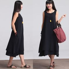 Two Layered Round Neck Sleevless Maxi Dress -  Cotton dress for Women (LYQ003)