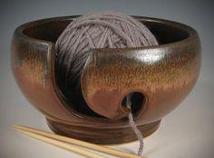 Yarn / Knitting Bowl -  flowing metallic deep brown glaze - Wheel Thrown Stoneware by Seiz Pottery