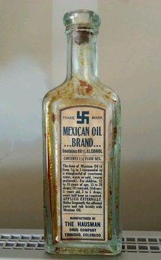 Vintage VTG Antique Mexican medicine bottle with swastika Antique Bottles, Old Bottles, Vintage Bottles, Vintage Ads, Old Medicine Bottles, Old Advertisements, Vintage Medical, Tea Packaging, Medical History