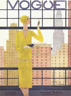 Vogue US Cover - 1928 - Fashion illustration by Georges Lepape - Gabrielle Coco Chanel is model for this cover of Vogue