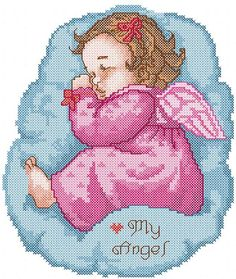 Cute sleeping angel cross stitch free embroidery design - Cross stitch machine embroidery - Machine embroidery forum
