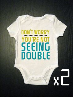 Seeing Double Onesies Baby Twins Bodysuit by VicariousClothing....for father's day?!