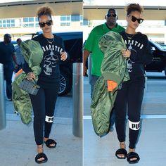 f446847c80b27 Rihanna wearing Karen Walker Starburst tortoise cat-eye sunglasses
