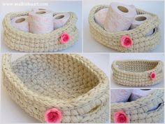 Crochet oval basket   Made of T-Shirt yarn-Trapillo