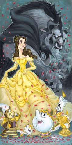 """""""Belle and the Beast"""" By Tim Rogerson - Original Oil on Canvas, 24 x 12.  #Disney #DisneyFineArt #BeautyAndTheBeast #TimRogerson"""