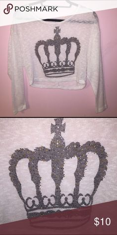 Delia's Crown Crop Sweater Super cute crown crop top! Bedazzled crown on a light material. Size XS Delia's Sweaters