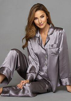 Sleepwear for Women: Finest Silk and Cotton PJs Pyjama Satin, Satin Pajamas, Pyjamas, Sleepwear Women, Pajamas Women, Loungewear Set, Satin Kimono, Satin Blouses, Sexy