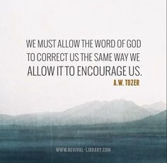 We must allow the Word of God to correct us the same way we allow it to encourage us. Bible Verses Quotes, Faith Quotes, Me Quotes, Quotes To Live By, Scriptures, Wisdom Quotes, Aw Tozer Quotes, A W Tozer, Soli Deo Gloria