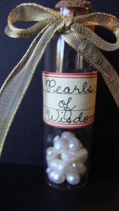 Real Freshwater Pearls (18-20 Potato Pearls) in a 3 inch glass jar with a cork top. Hand lettered, vintage style label of varying colors.