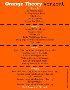 Workout Exercise Orange Theory Inspired Workouts - An Orange Theory HIIT workout for times when you cannot make it to a class or it's just not in your budget to join an OT. Fitness Workouts, Treadmill Workouts, Running On Treadmill, Fun Workouts, At Home Workouts, Circuit Training Workouts, Fitness Plan, Group Fitness, La Fitness Gym
