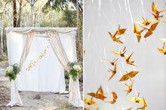 Breathtaking ceremony decor including origami cranes