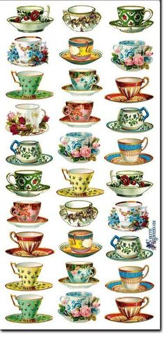 Welcome to the Internet's largest collection of romantic Victorian and floral stickers with images of angels, roses, tea time and more! Stickers are so much fun Shabby, Coffee Cups, Tea Cups, Photocollage, Teapots And Cups, Tea Art, My Tea, Retro, Tea Cup Saucer