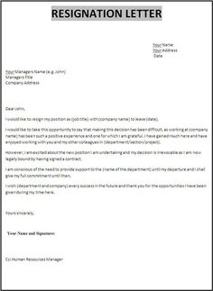Simple Resignation Letter  Month Notice As Sample Letter Of