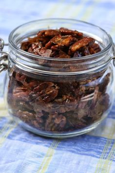 Almost Vegetarian: Candied Pecans with Rosemary and Spice. Easy, delicious and fructose free.