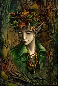 """alder-knight: """"Spirit of the Autumn Forest"""" by Candra.  Bittersweet October. The mellow, messy, leaf-kicking, perfect pause between the opposing miseries of summer and winter.  ~Carol Bishop Hipps"""