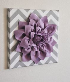 Wall Flower -Lilac Dahlia on Gray and White Chevron 12 Canvas Wall Art- Baby Girl Nursery Wall Decor- Purple Dahlia, Lilac Roses, Dahlia Flower, Deep Purple, Fuchsia Flower, Purple Gray, Diy Flower, Home Decoracion, Baby Wall Art