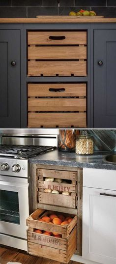 #6. Add farmhouse style to kitchen by replacing cabinet drawers with these old wooden crates. Old Kitchen Cabinets, Kitchen Cabinets Made Out Of Pallets, Dark Blue Kitchen Cabinets, Kitchen Cupboard Colours, Kitchen Baskets, Farmhouse Cabinets, Kitchen Cabinet Drawers, Mobile Home Kitchen Cabinets, Cupboards