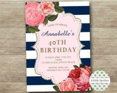 Floral navy white stripe with gold glitter adult birthday Invitation/Shabby Chic High Tea/Printable/Bridal Shower/Wedding Invite/Baby Shower