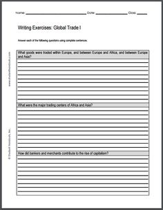 Rise of Global Trade Writing Exercises - Two worksheets, each with three essay questions. Free to print (PDF file).