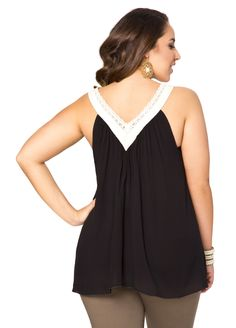Gauze Crochet Neck Tank - Ashley Stewart