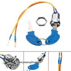 Mini Llave de Contacto 20mm Universal 2 Cables Aluminio 2 Llaves CafeRacer -- 8,25€