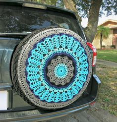 Black and Blues  Crocheted Spare Tire Cover  by tristinandcompany ((sold))