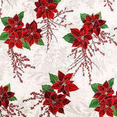 poinsettia floral cotton fabric