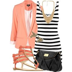 striped jersey #dress and cuffed coral #blazer