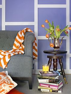 Turn a basic wall into a geometric focal point with a bold paint color + simple, inexpensive molding: www.hgtv.com/design-star/create-a-geometric-focal-wall-with-trim/index.html?soc=pinfave