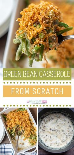 "Made completely from scratch with no canned soups and a homemade ""fried"" onion topping, this homemade green bean casserole is perfection! Easy Casserole Recipes, Casserole Dishes, Tortellini, Homemade Green Bean Casserole, Homemade Fries, Frozen Green Beans, Creamy Mushroom Sauce, Best Casseroles, Side Dish Recipes"