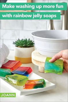 Here's everything you need to make this project: Kit of Jelly Soap materials Scissors Roll of parchment paper Soap Making Kits, Soap Making Recipes, Craft Activities For Kids, Diy Crafts For Kids, Summer Activities, Handmade Soaps, Diy Soaps, Jelly Soap, Rainbow Jelly