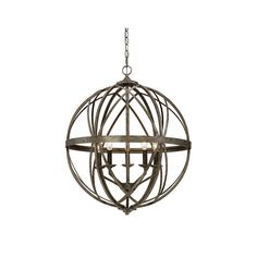 "Millennium Lighting 2285 Lakewood 5 Light 24"" Wide Foyer Pendant with Cage Frame Antique Silver Indoor Lighting Pendants"