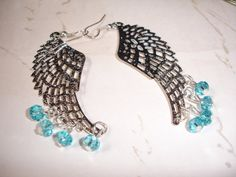 ROMANTIC WING Earrings Silver Aqua Bead by spiritdesignsbykc, $14.00 TREASURY LISTED...GREAT EASTER GIFT FOR MOM