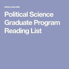 Political Science Graduate Program Reading List
