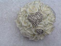 Brooch Bridesmaid bouquet romantic ivory by BridalBloomsbyRachel, £25.00