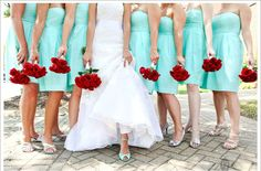 Tiffany Blue Bridal Heels + Matching Knee Length Strapless Bridesmaid Dresses <3