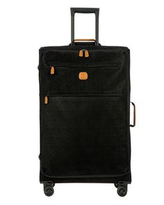 Bric's Life Tropea Spinner Luggage In Black Brics, Spinner Suitcase, Pvc Coat, Sporty Look, Herringbone Pattern, Traveling By Yourself, Shoe Bag, Leather, Life