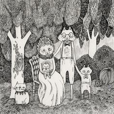 illustration, animal, mother, baby, tree, woodland, landscape, naive. Fox Family Art Print
