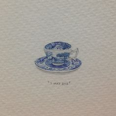 Day 127 : Italian bone china teacup in honour of Olivia's granny. 14 x 20 mm. #365paintingsforants #italian #teacup (at Vredehoek)