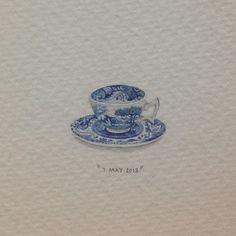 Day 127 : Italian bone china teacup in honour of Olivia's granny. 14 x 20 mm. #365paintingsforants #italian #teacup (at Vredehoek)