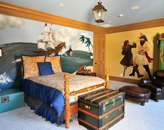 """Okay, seriously, people keep pinning these as """"pirate boy's room"""" or """"so totally the room for the little guy."""" I want to say that I'm a girl and I LOVE pirates, if I had a choice, I'd be a walk around pirate for Disneyland or Disneyworld."""
