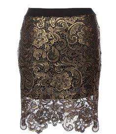Metallic Brocade Skirt: Features a luxe metallic floral lace shell finished with gold polish, elegant black waistband, contrast liner for full coverage, and a beautiful scalloped hem to finish.