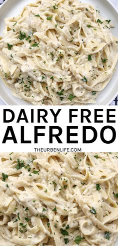 This delicious homemade dairy-free fettuccine alfredo sauce recipe is perfect for pasta night! It's vegan, plant-based, oil-free, non-dairy, egg-free, and gluten-free. Easy Vegan Dinner, Vegan Dinner Recipes, Healthy Recipes, Yummy Recipes, Egg Free Recipes, No Dairy Recipes, Dairy Free Alfredo Sauce, Fettuccine Alfredo, Best Food Ever