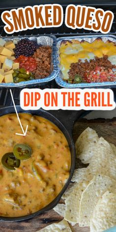 Smoked Dip on The Grill is the summer's favorite queso dip! Loaded with meat, multiple cheese blends including Velveeta, jalapenos, and more. This is the ultimate grilling dip for summer cookouts and more. #summer #cookout #grill #grilling #smoked #dip #onthegrill #party #snacking #appetizer Healthy Dinner Recipes, Mexican Food Recipes, Appetizer Recipes, New Recipes, Favorite Recipes, Appetizers On The Grill, Recipes For The Grill, Meat Appetizers, Bacon Recipes