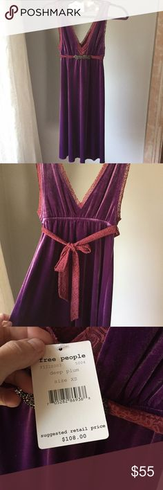 "🎄Lovely Free People special occasion dress Soft like velvet, it has a jeweled lace belt and lace along the neckline and center panel with a bit of plunge in the front, measures 35"" long and although it has some stretch to the fabric, fits true to size - lovely for the holidays, not worn, with tag Free People Dresses Midi"